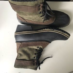 Sorel Suede and Rubber Rain and Snow Boots